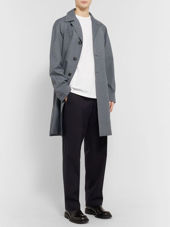 Prada Micro-Checked Virgin Wool Overcoat