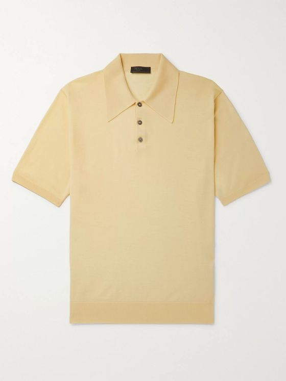 Prada Mélange Virgin Wool Polo Shirt