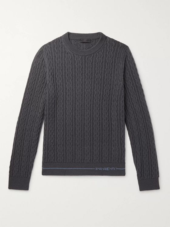 Prada Slim-Fit Logo-Intarsia Cable-Knit Cashmere Sweater