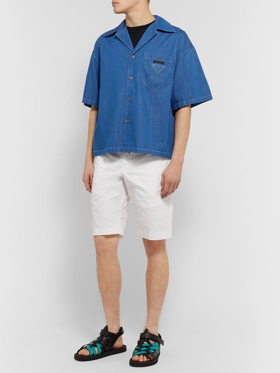 Prada Camp-Collar Denim Shirt