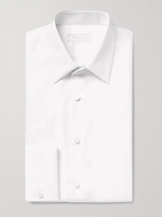 Prada White Slim-Fit Double-Cuff Cotton-Poplin Tuxedo Shirt