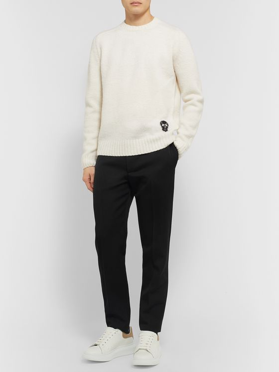 Alexander McQueen Black Slim-Fit Wool Tuxedo Trousers
