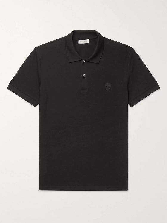 Alexander McQueen Slim-Fit Logo-Appliquéd Organic Cotton-Piqué Polo Shirt