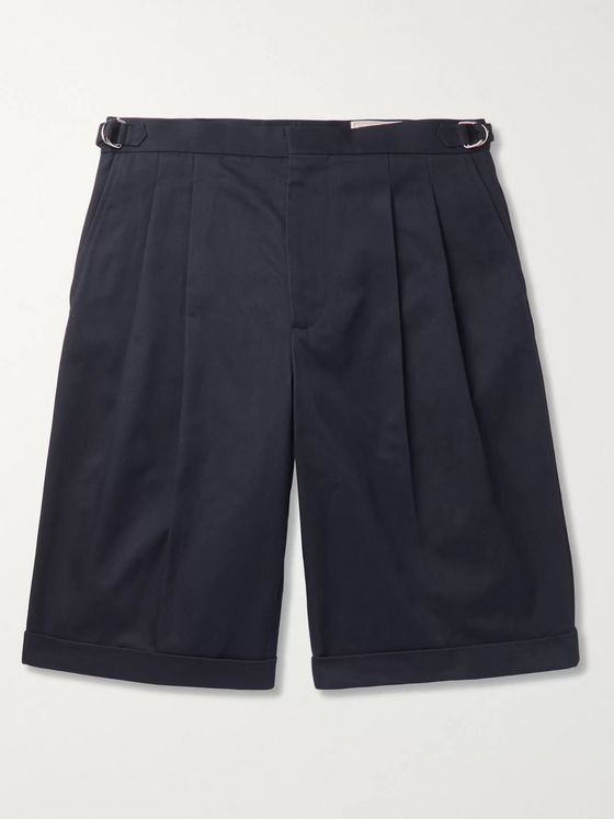 Alexander McQueen Pleated Cotton-Gabardine Shorts