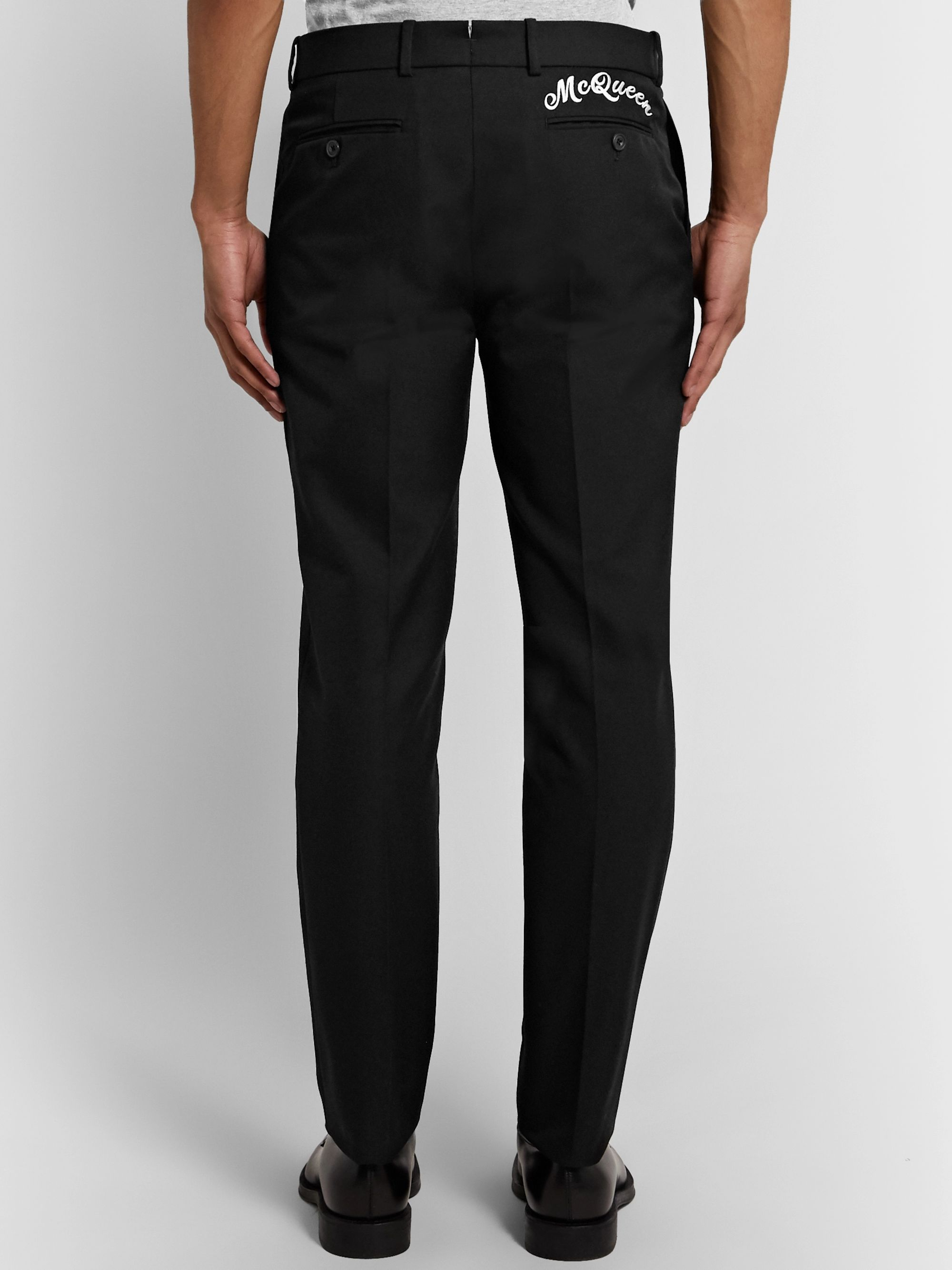 Alexander McQueen Slim-Fit Logo-Embroidered Panama Cotton Trousers