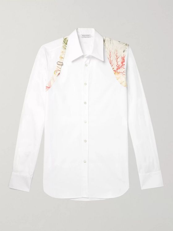 Alexander McQueen Slim-Fit Harness-Detailed Cotton-Poplin Shirt