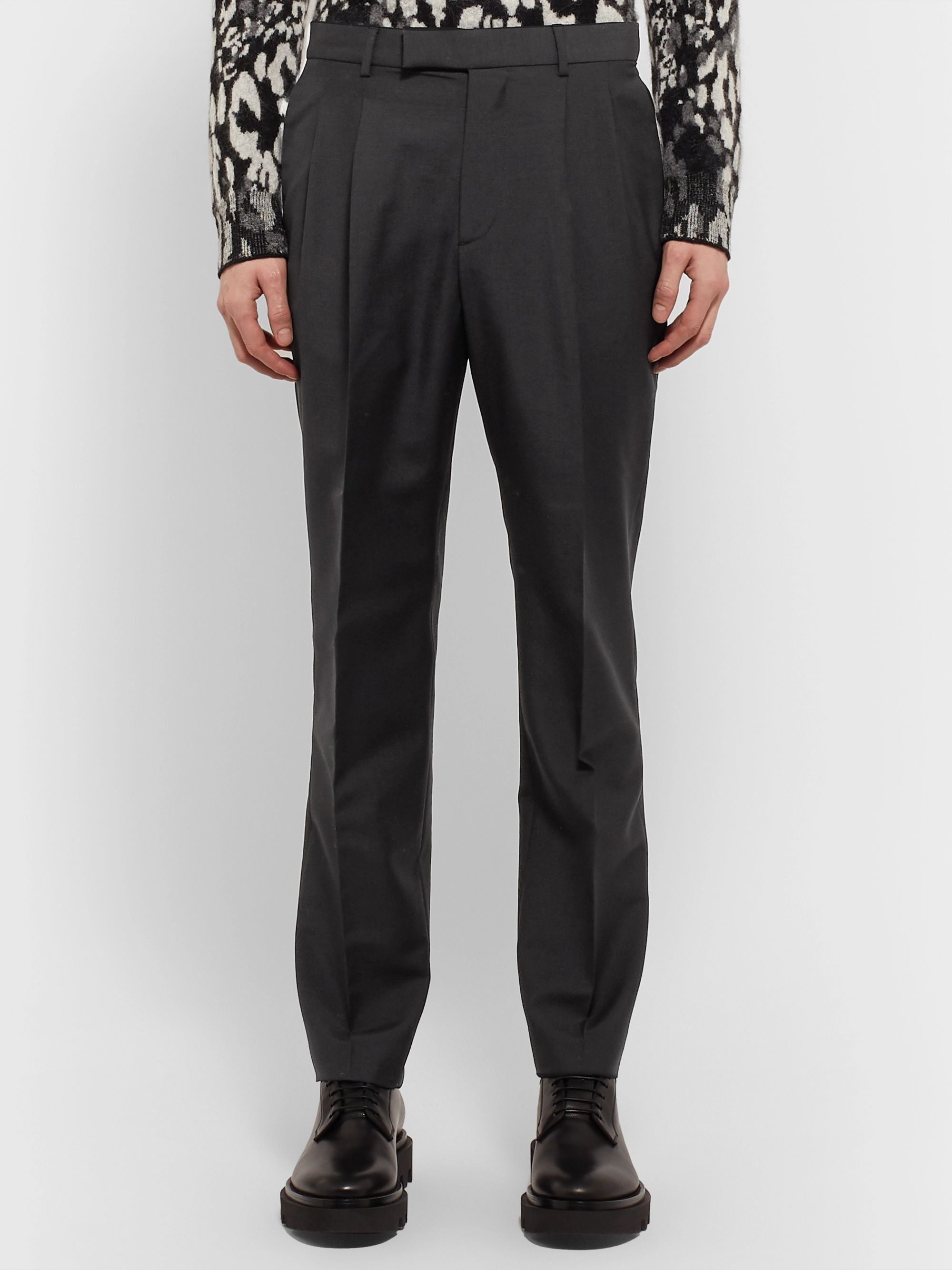 Alexander McQueen Black Slim-Fit Pleated Wool and Mohair-Blend Trousers