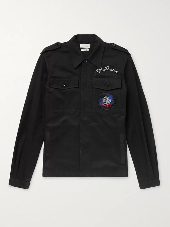Alexander McQueen Slim-Fit Appliquéd Logo-Embroidered Cotton-Gabardine Jacket
