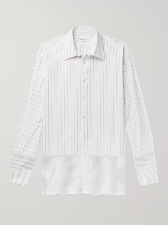 Alexander McQueen Slim-Fit Patchwork Striped Cotton Shirt