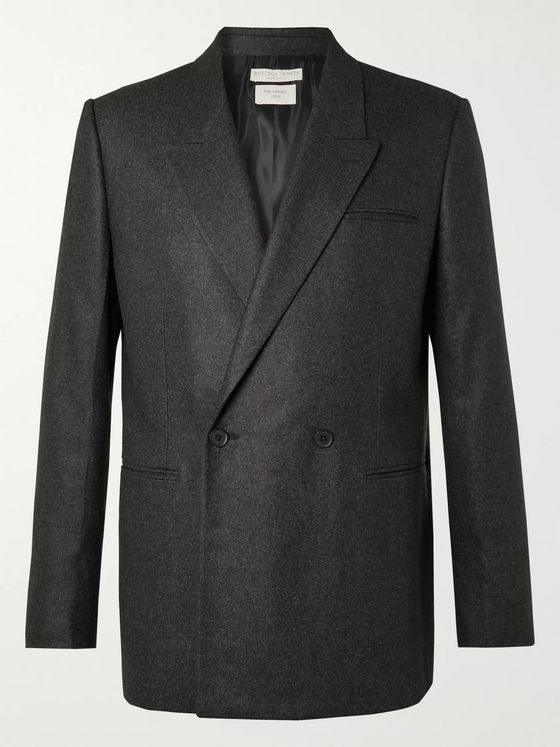 Bottega Veneta Charcoal Double-Breasted Cashmere-Blend Blazer
