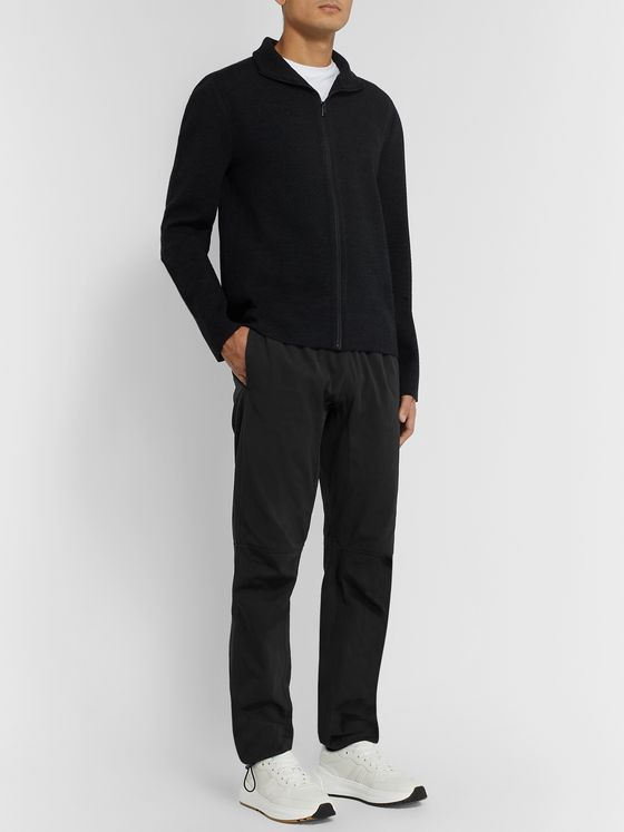 Bottega Veneta Black Tapered Cotton-Blend Trousers
