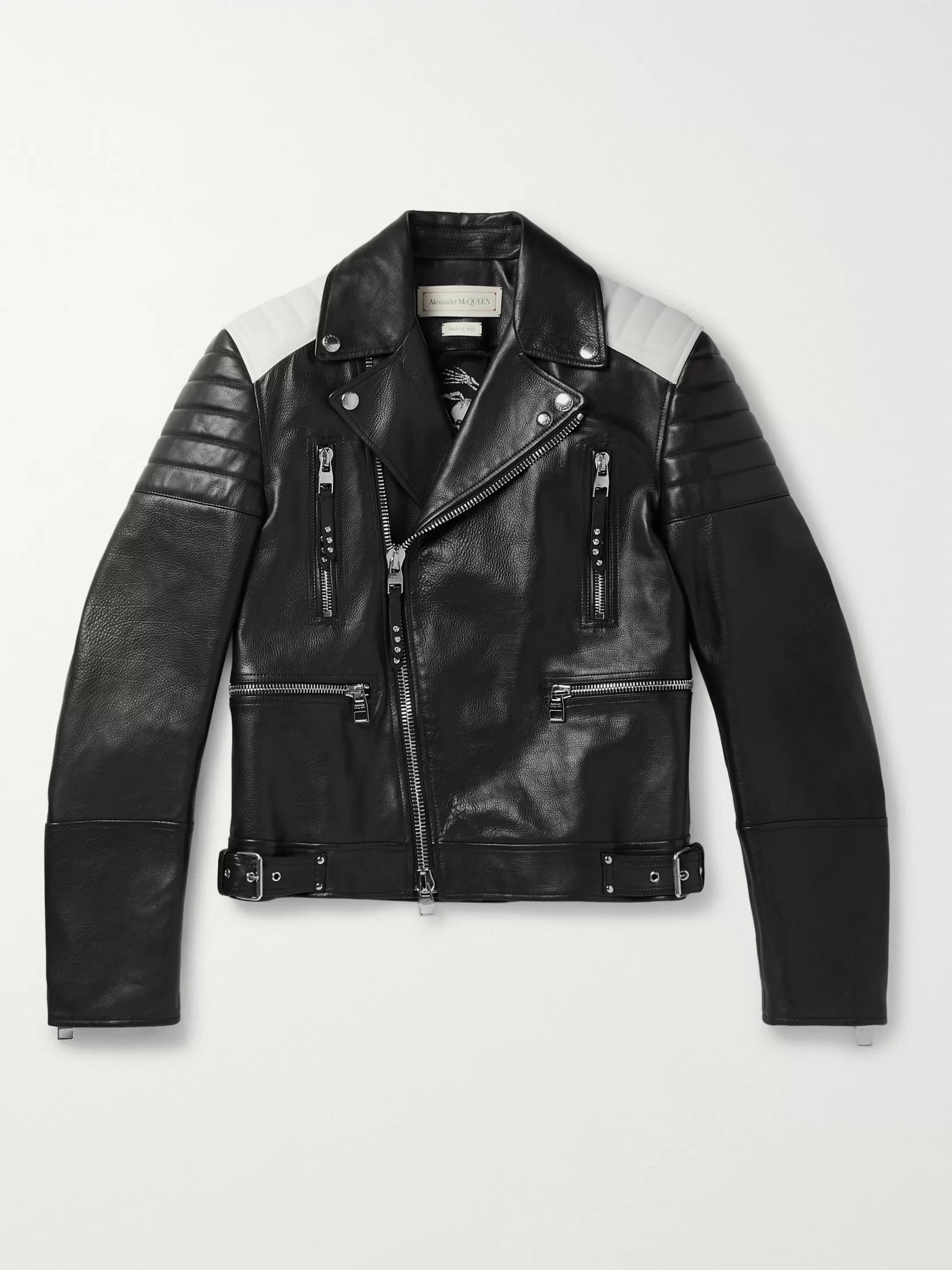 Alexander McQueen Color-Block Full-Grain Leather Biker Jacket