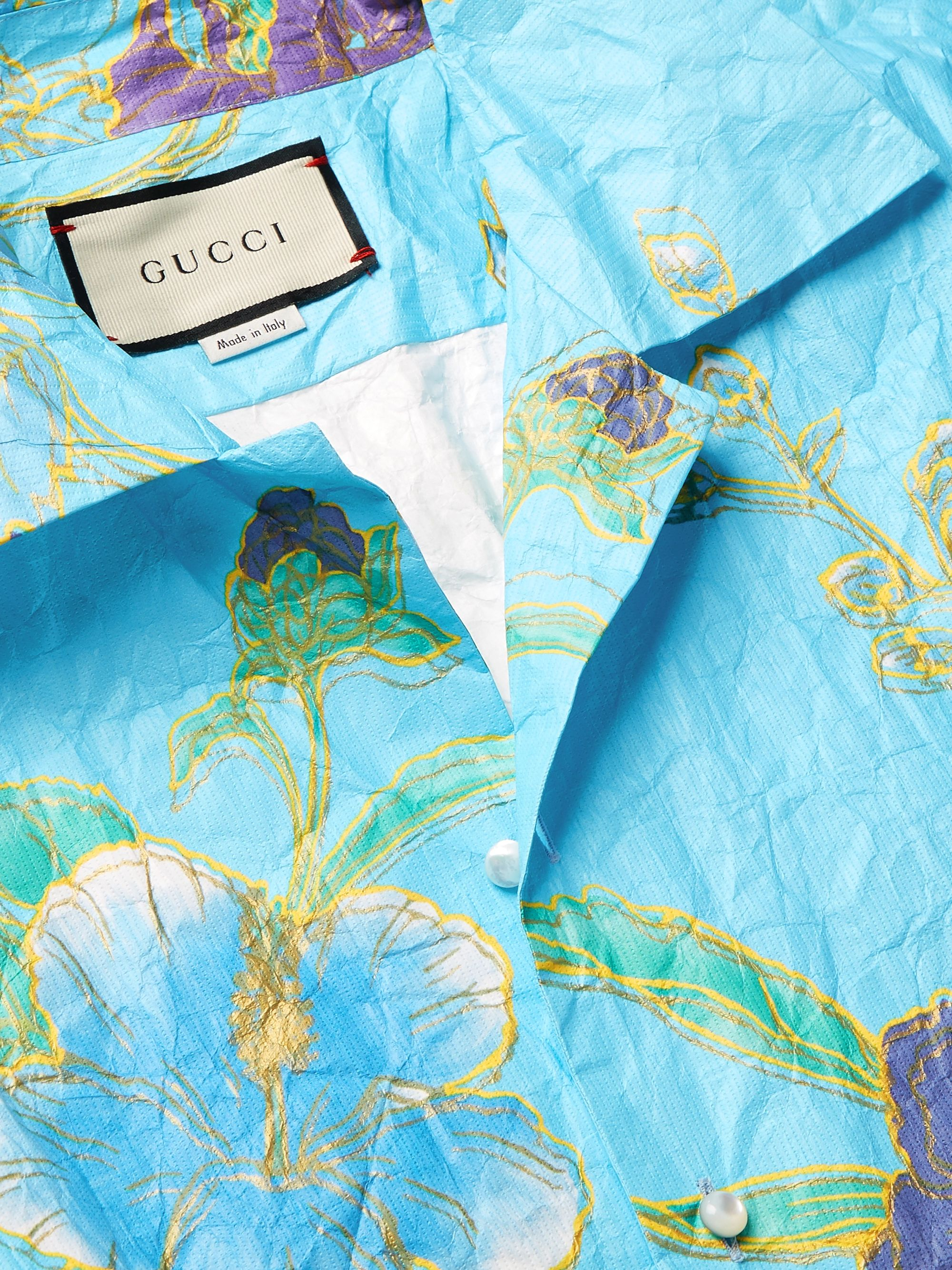 Gucci Oversized Camp-Collar Printed Paper-Effect Crinkled-Shell Shirt