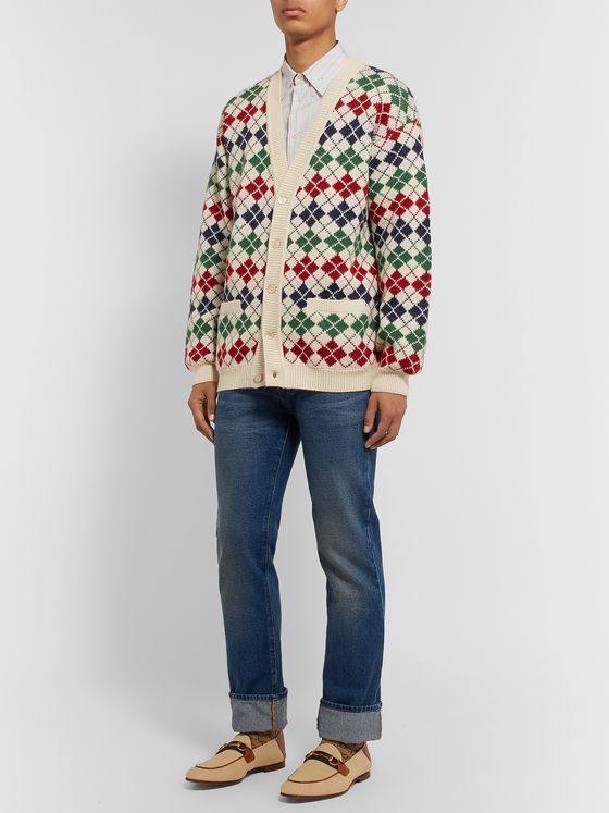 GUCCI Argyle Alpaca and Wool-Blend Cardigan