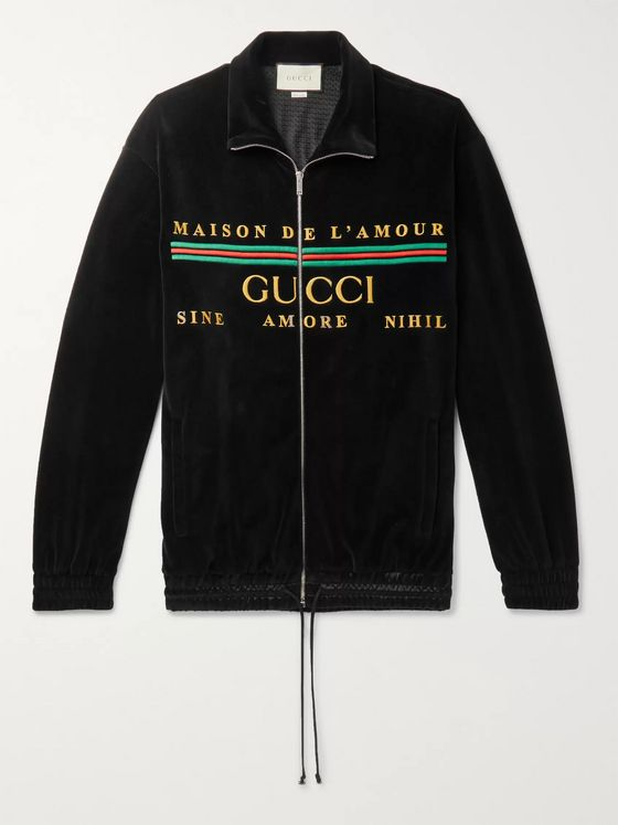 Gucci Logo-Embroidered Cotton-Blend Velvet Zip-Up Sweatshirt