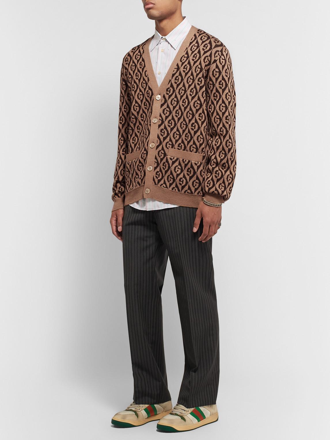 Gucci Men's Rhombus Intarsia-knit Cardigan Sweater In Beige