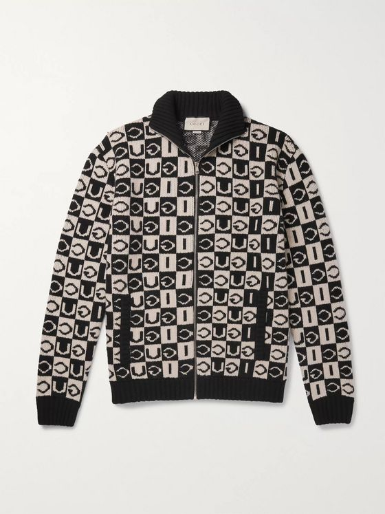 Gucci Logo-Jacquard Wool Zip-Up Cardigan