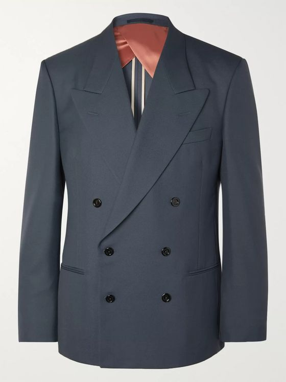 Gucci Blue Double-Breasted Drill Suit Jacket