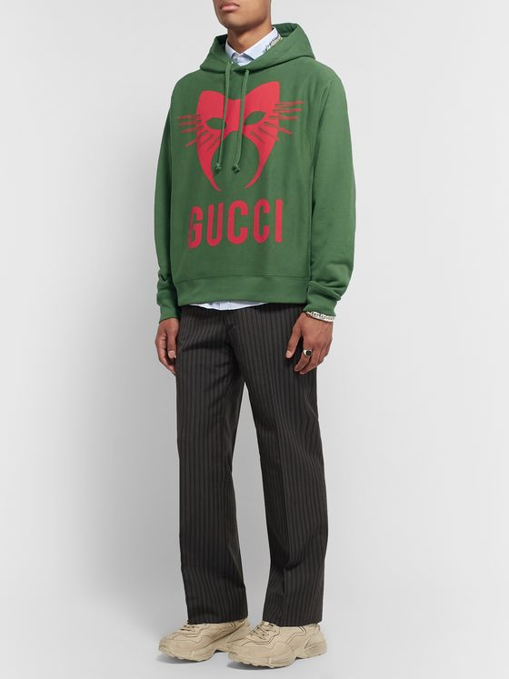 Gucci Oversized Printed Loopback Cotton-Jersey Hoodie