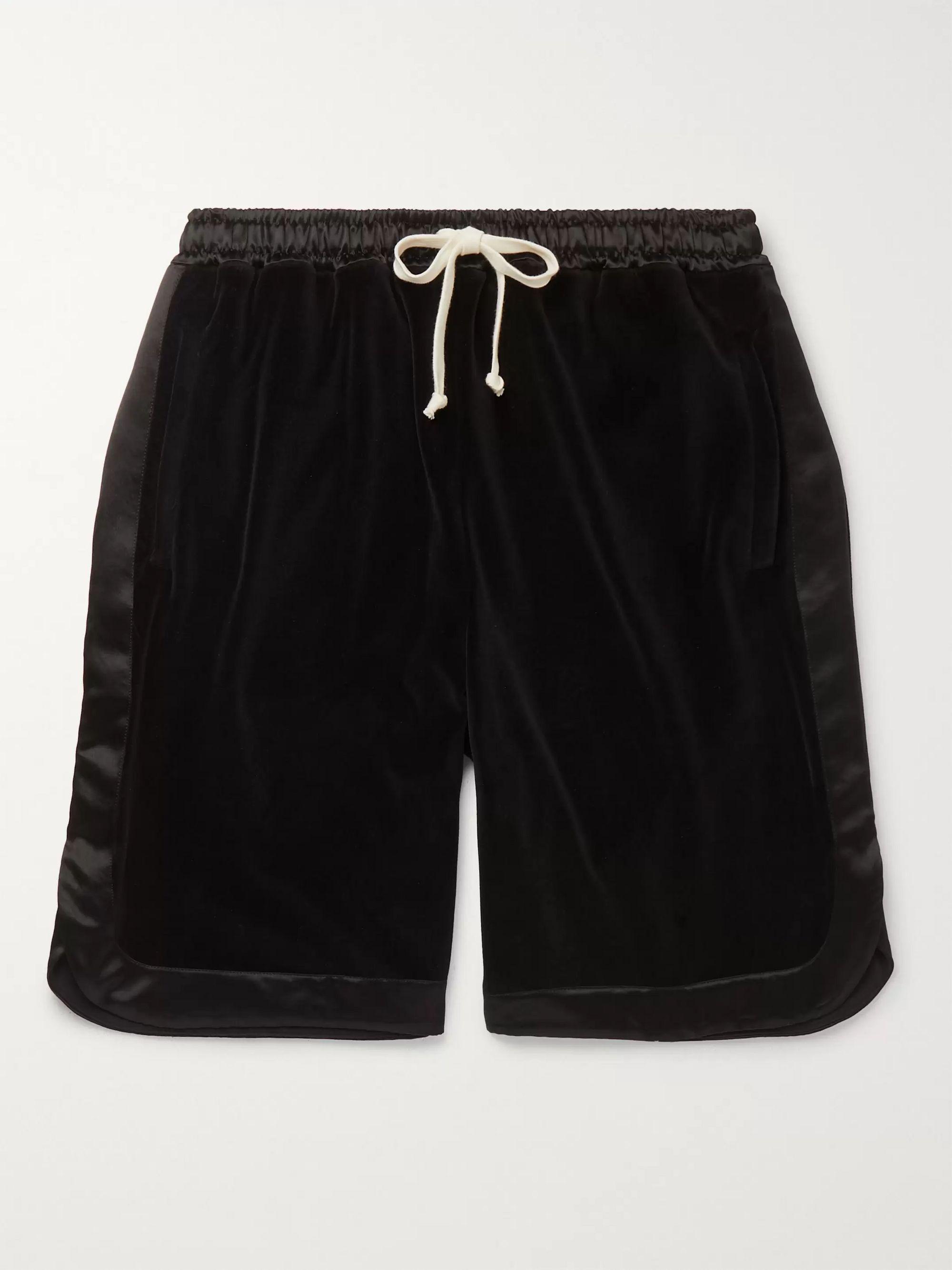 구찌 Gucci Wide-Leg Satin-Trimmed Cotton-Blend Velvet Drawstring Shorts,Black