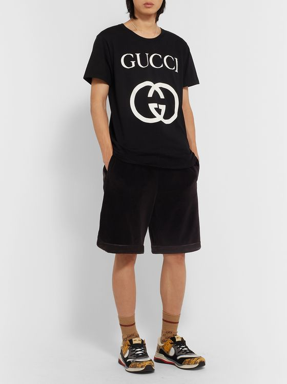 GUCCI Wide-Leg Satin-Trimmed Cotton-Blend Velvet Drawstring Shorts