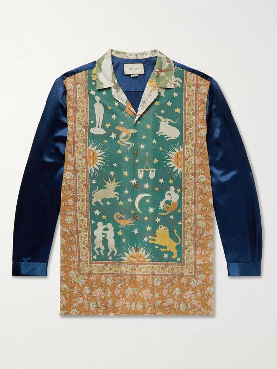 Gucci Camp-Collar Printed Cotton-Muslin and Satin Shirt
