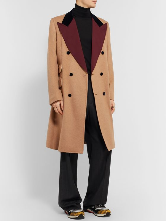 GUCCI Velvet and Twill-Trimmed Double-Breasted Camel Hair Coat