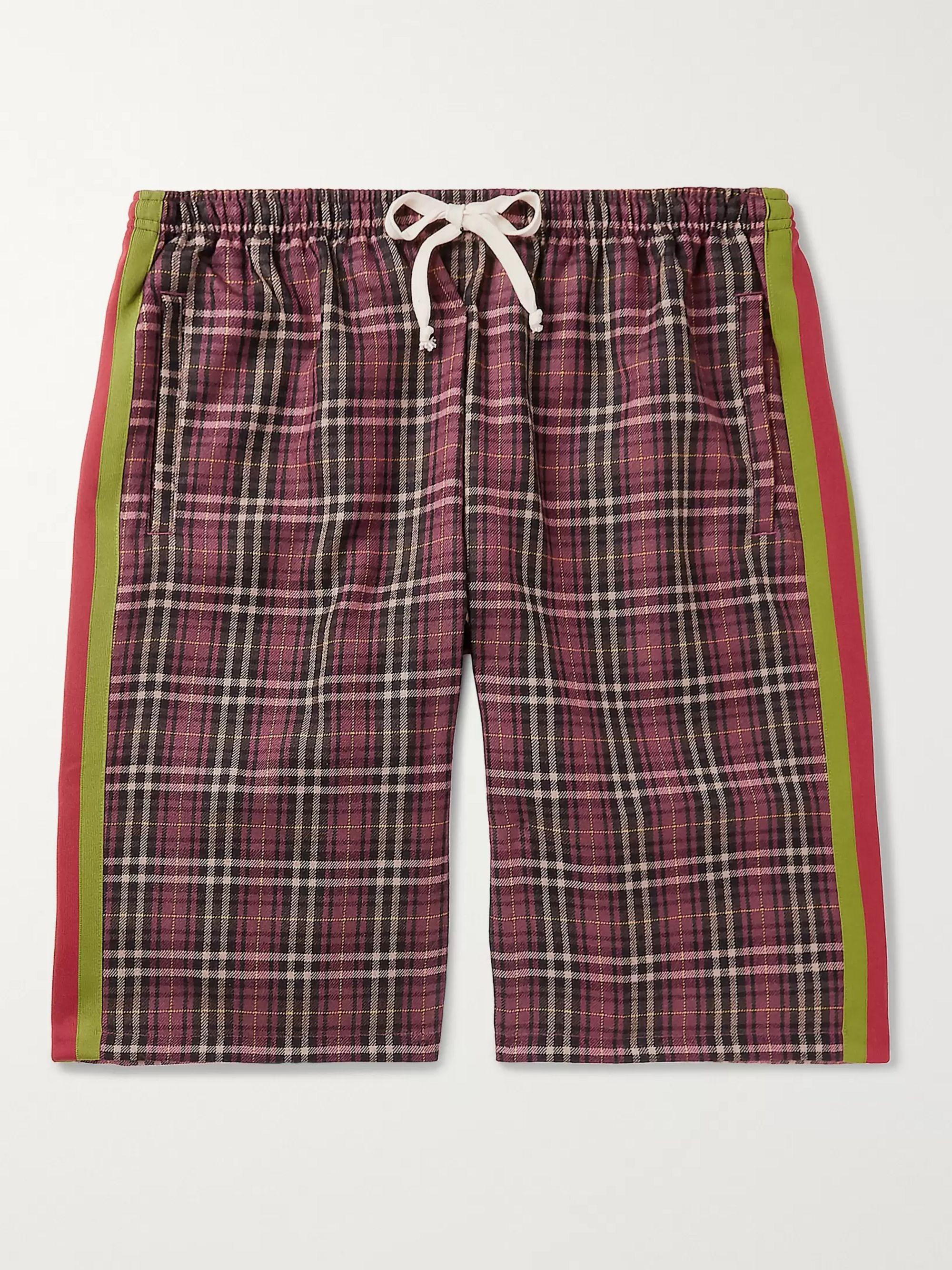구찌 Gucci Wide-Leg Striped Checked Cotton Drawstring Shorts,Red