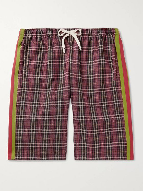 Gucci Wide-Leg Striped Checked Cotton Drawstring Shorts