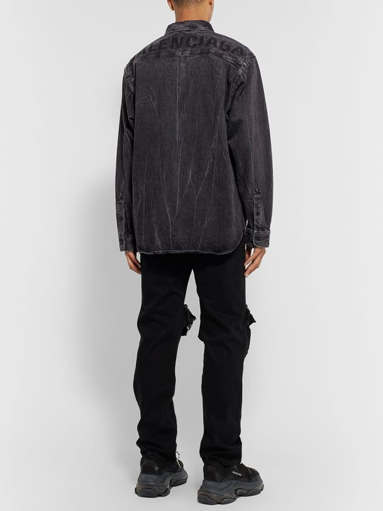 Balenciaga Oversized Button-Down Collar Logo-Print Stonewashed Denim Shirt