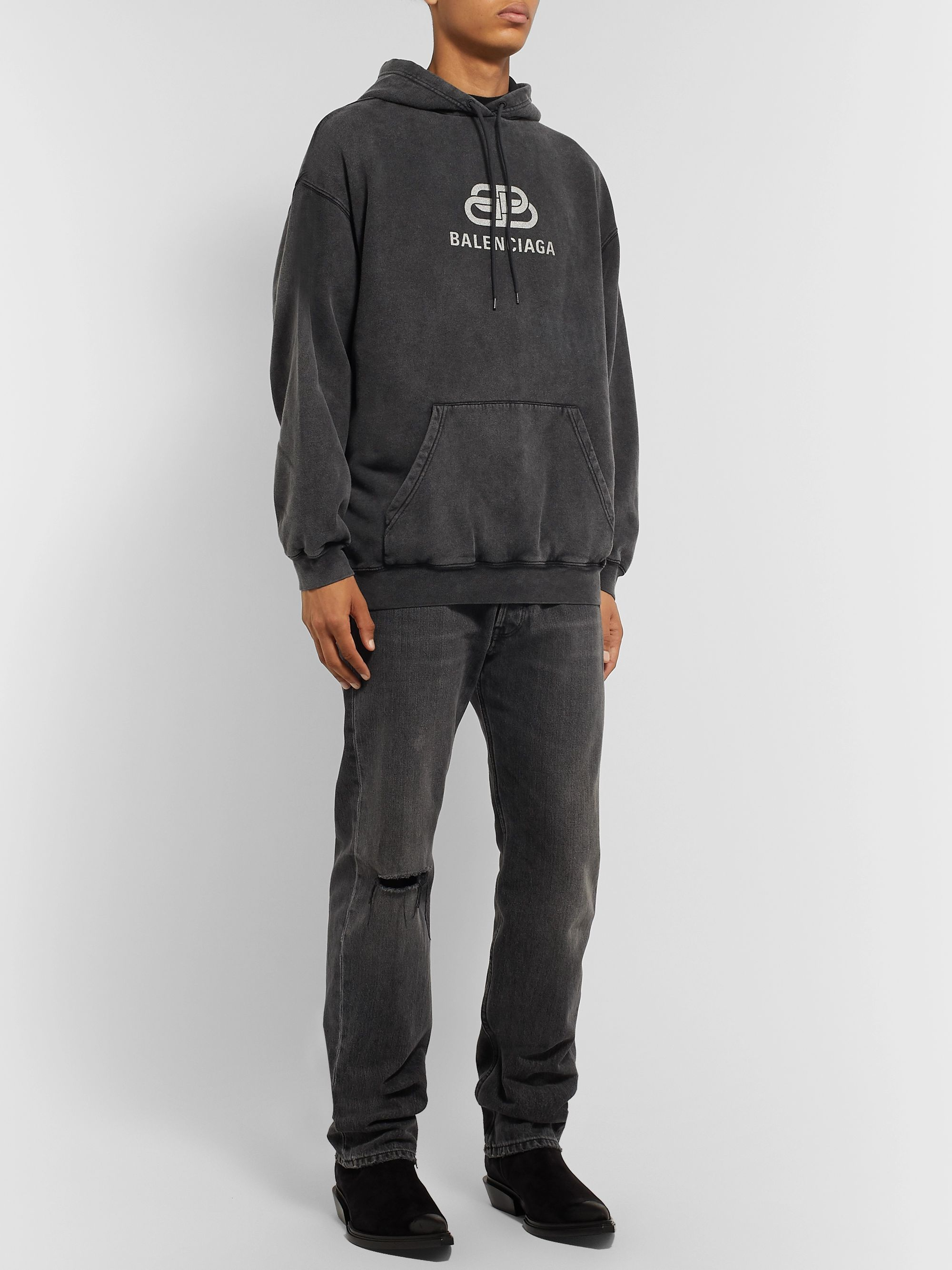Balenciaga Oversized Logo-Print Washed Loopback Cotton-Jersey Hoodie