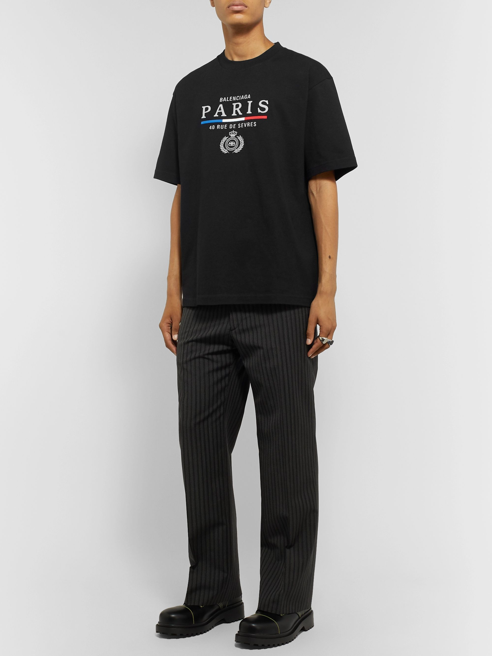 Balenciaga Embroidered Cotton-Jersey T-Shirt