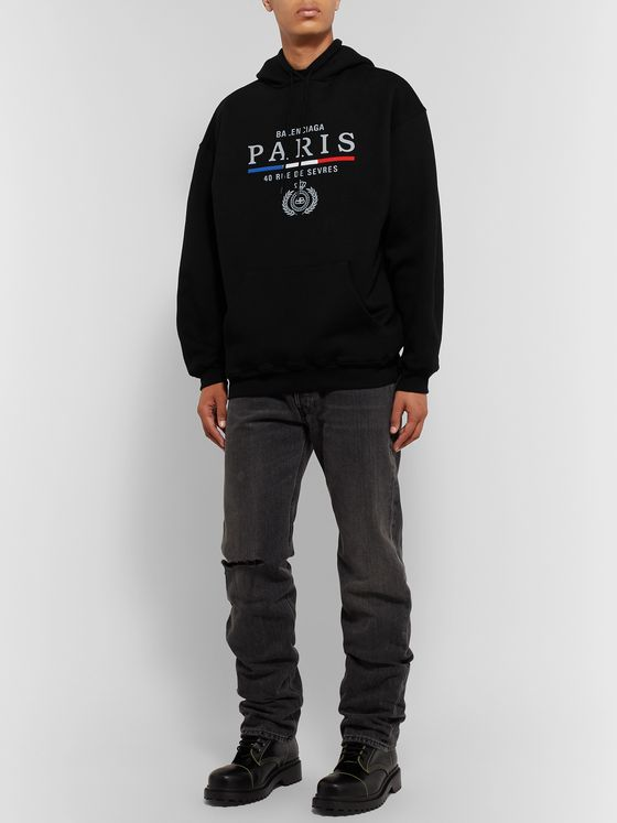 Balenciaga Embroidered Fleece-Back Cotton-Jersey Hoodie