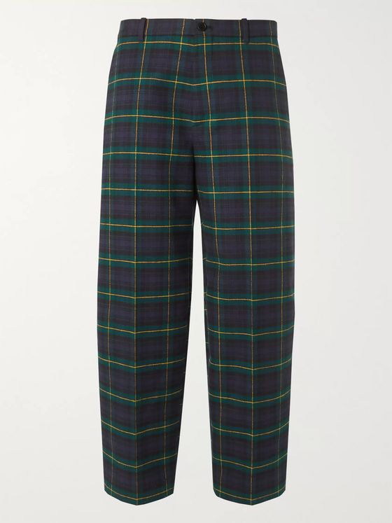 Balenciaga Cropped Checked Cotton-Flannel Trousers