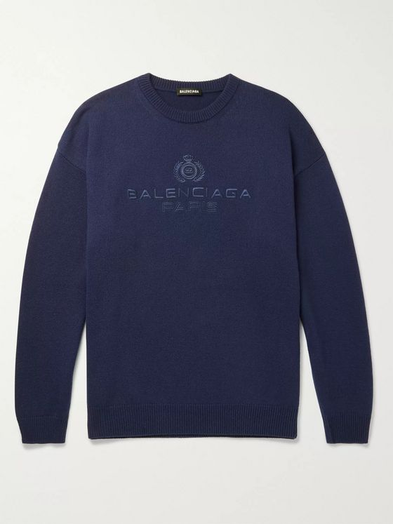 Balenciaga Logo-Embroidered Cashmere Sweater