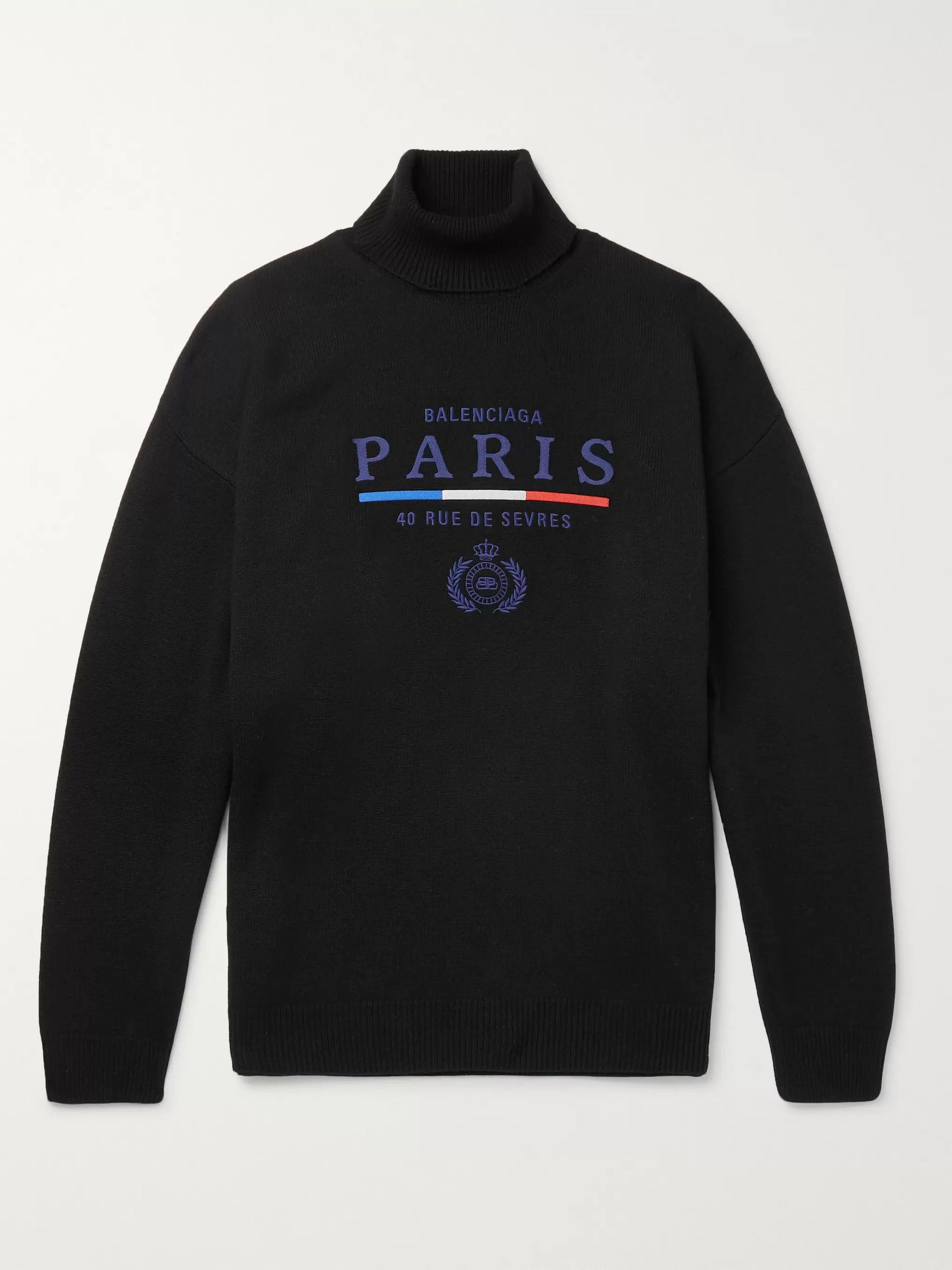 Balenciaga Embroidered Cashmere Rollneck Sweater