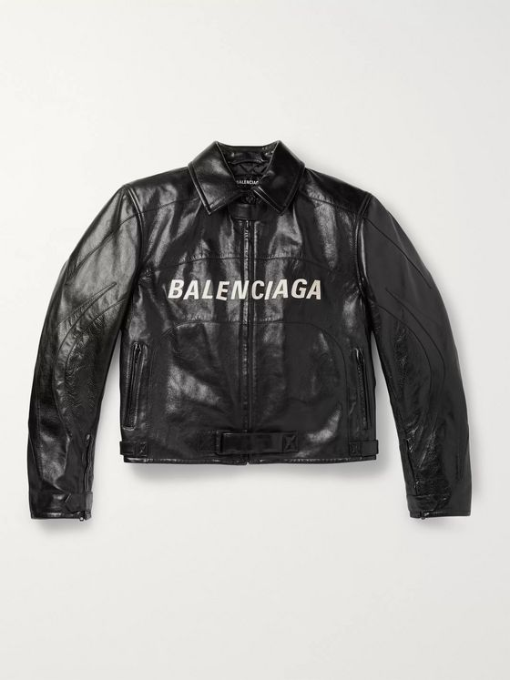 Balenciaga Oversized Logo-Appliquéd Textured-Leather Jacket