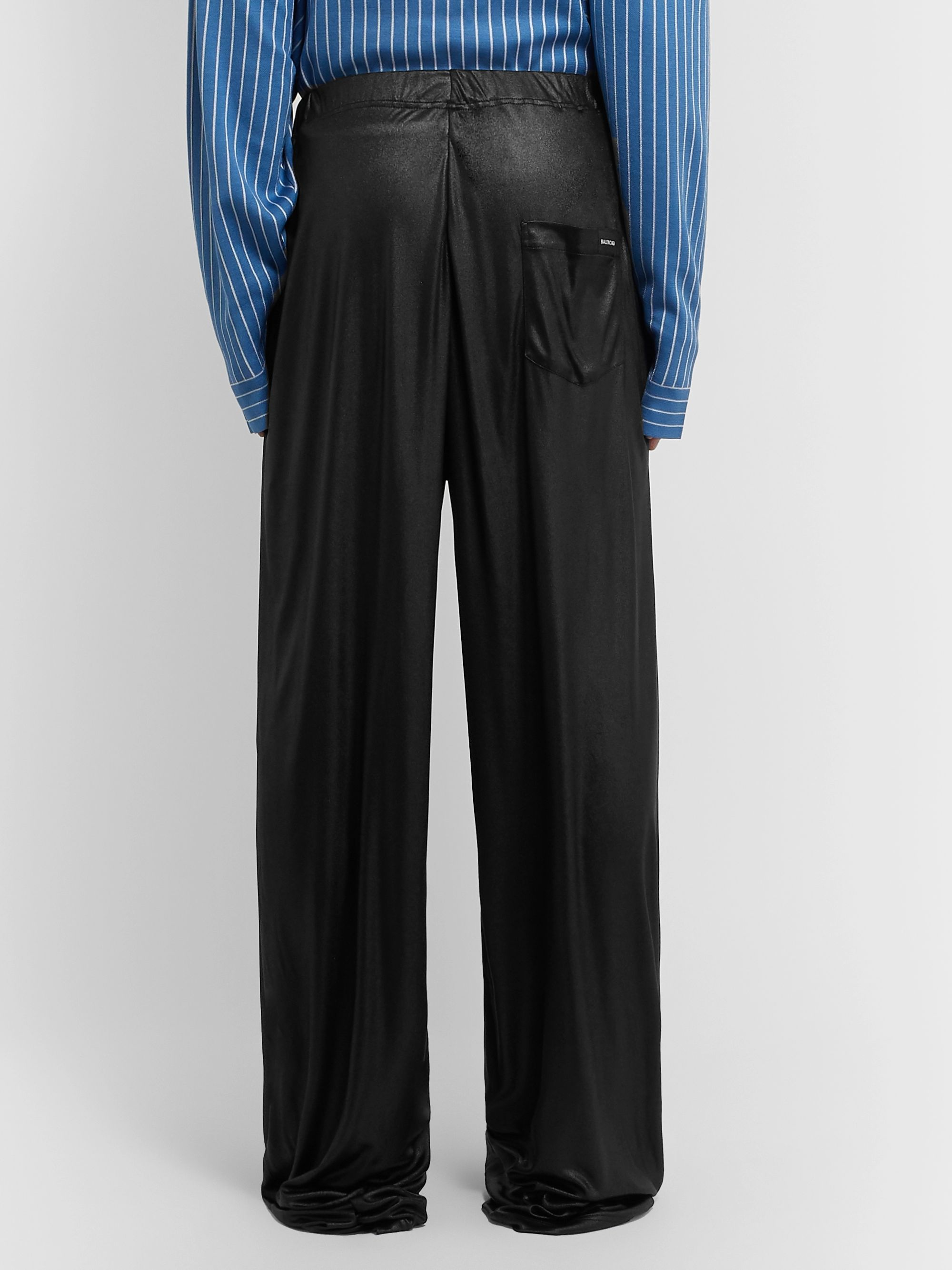 Balenciaga Black Wide-Leg Coated-Jersey Trousers