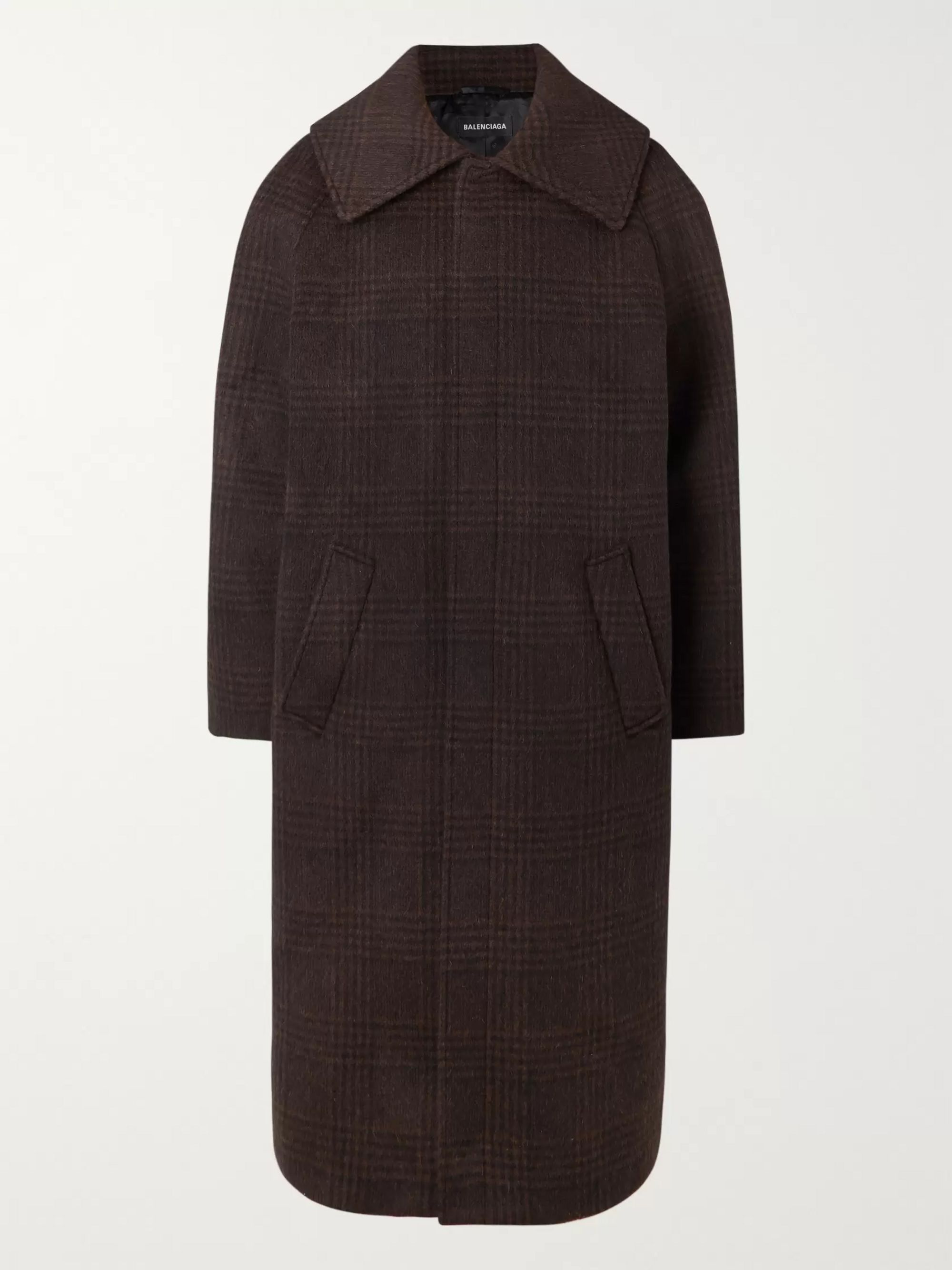 Balenciaga Oversized Checked Wool-Blend Coat