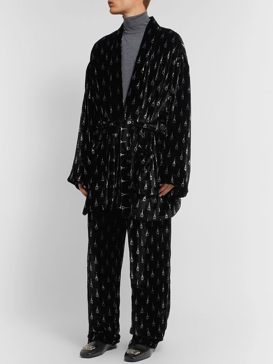 Balenciaga Printed Velour Trousers