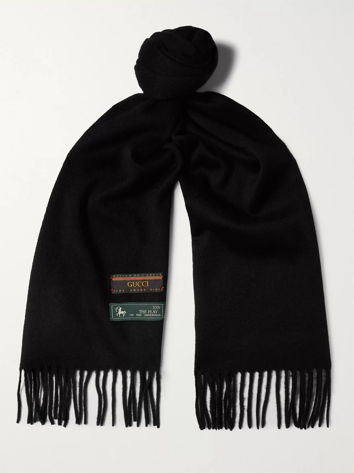 gucci - fringed wool and cashmere-blend scarf - men - black