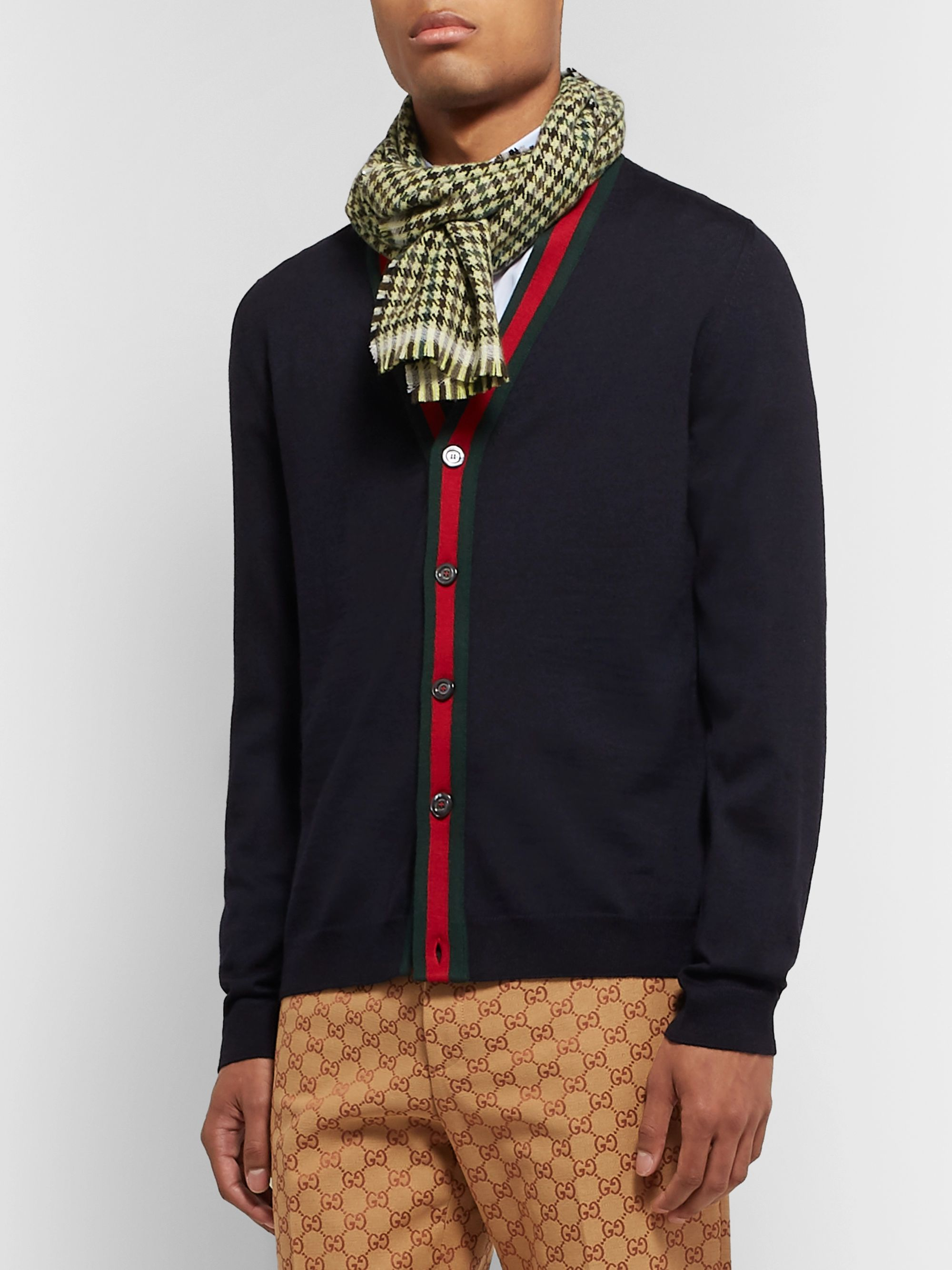 Gucci Embellished Fringed Houndstooth Wool and Cashmere-Blend Scarf