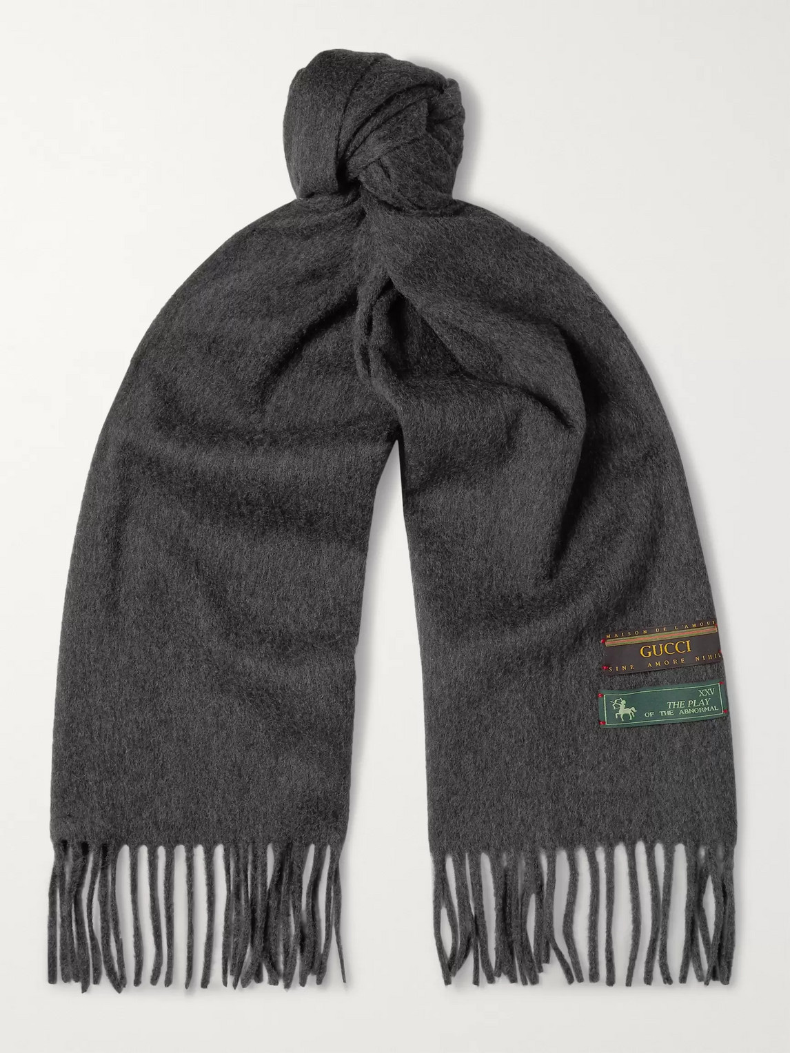 gucci - fringed wool and cashmere-blend scarf - men - gray