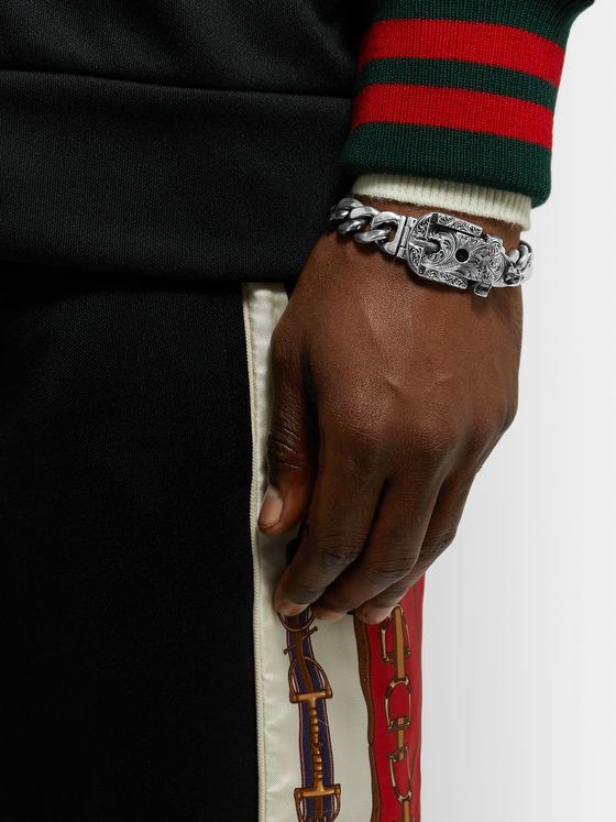 GUCCI Sterling Silver Buckled Chain Bracelet