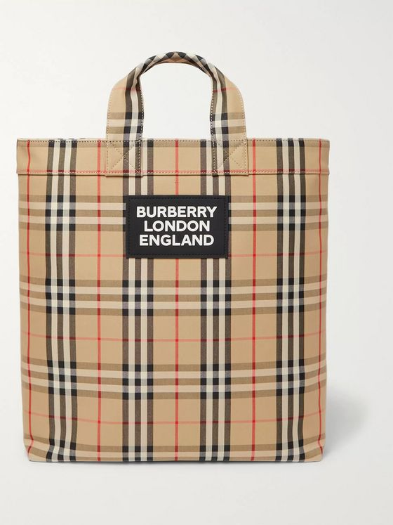 Burberry Logo-Appliquéd Checked Canvas Tote Bag
