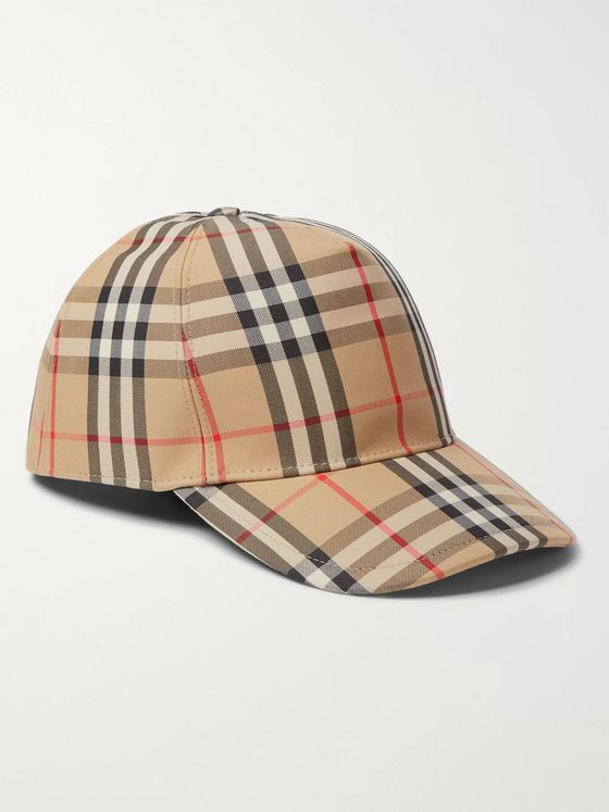 Burberry Leather-Trimmed Checked Cotton-Blend Canvas Baseball Cap