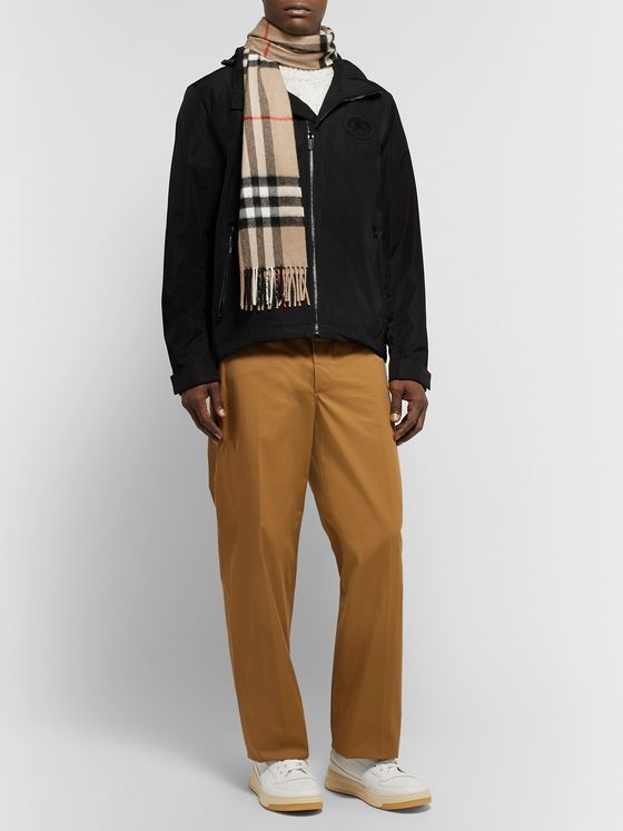 Burberry Fringed Checked Cashmere Scarf