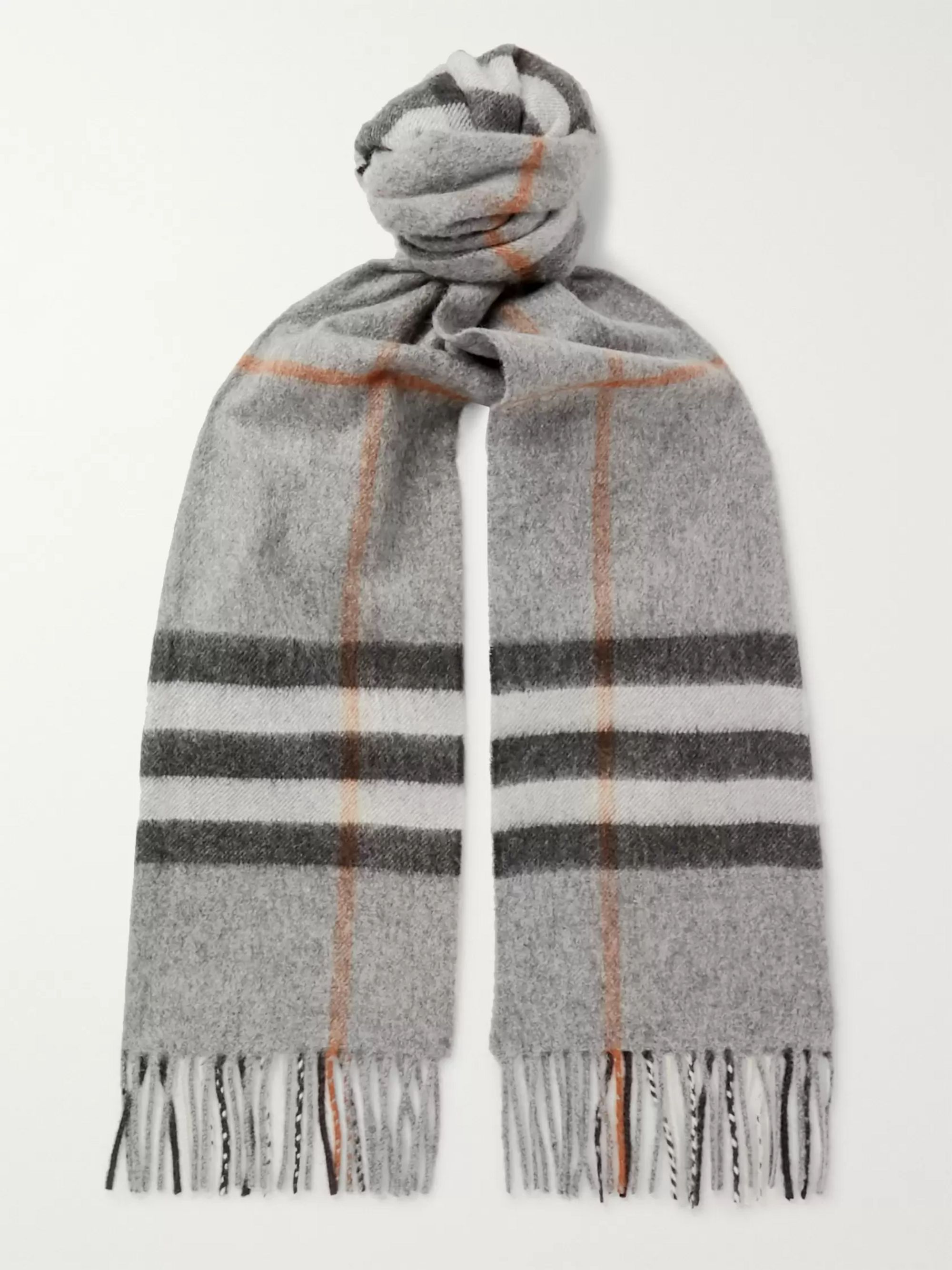 Fringed Checked Cashmere Scarf by Mr Porter