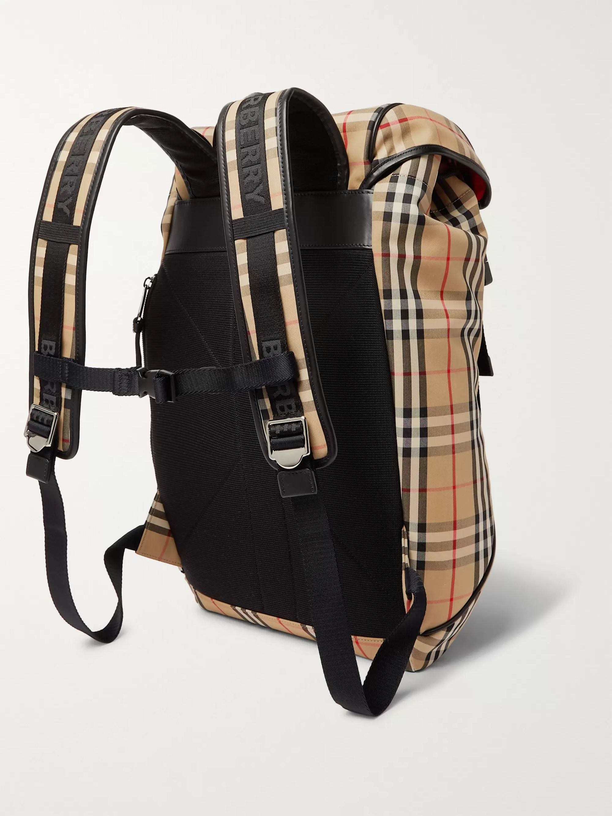 Burberry Logo-Appliquéd Checked Canvas Backpack