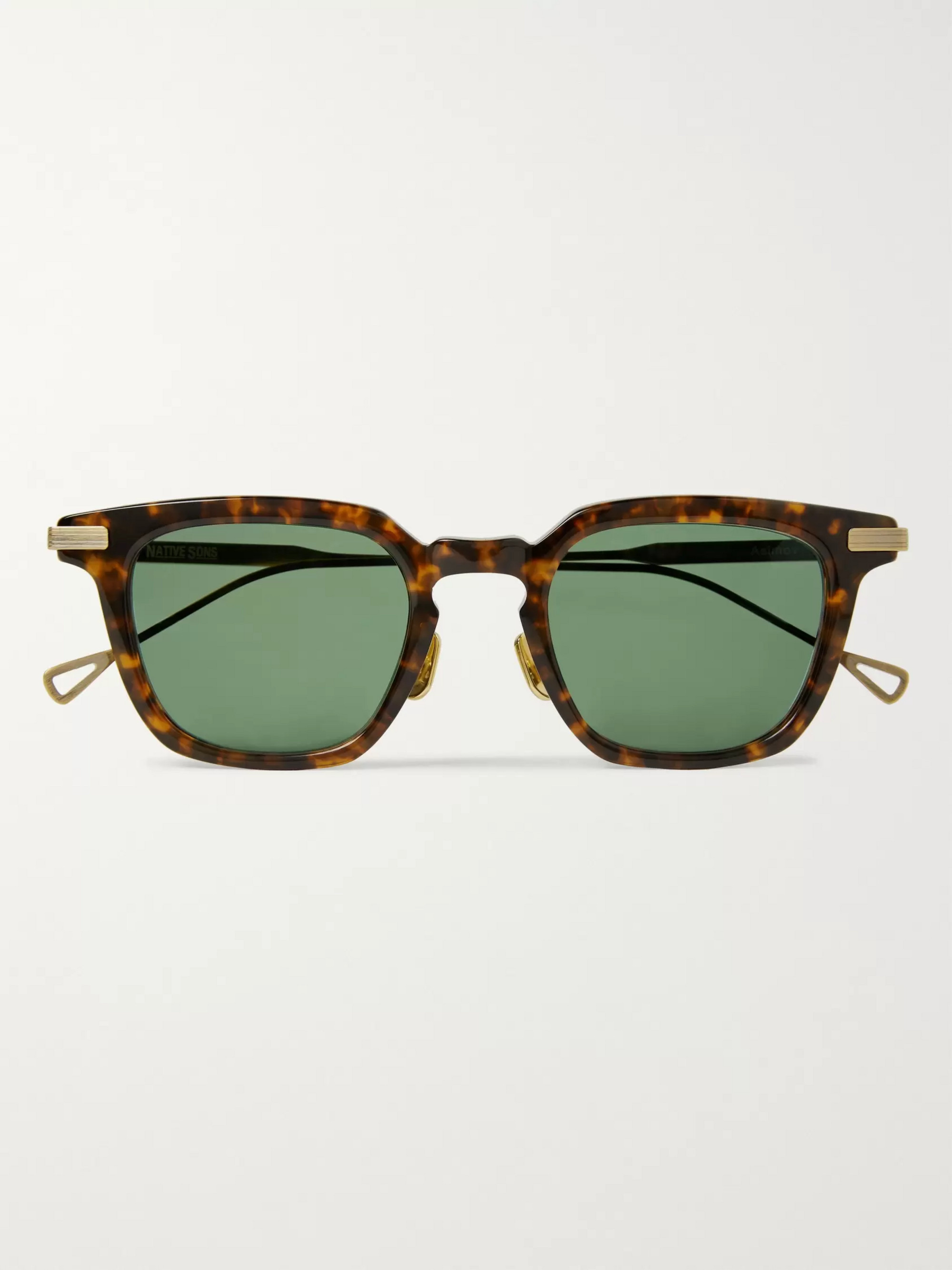 Native Sons Asimov Square-Frame Tortoiseshell Acetate and Gold-Plated Sunglasses